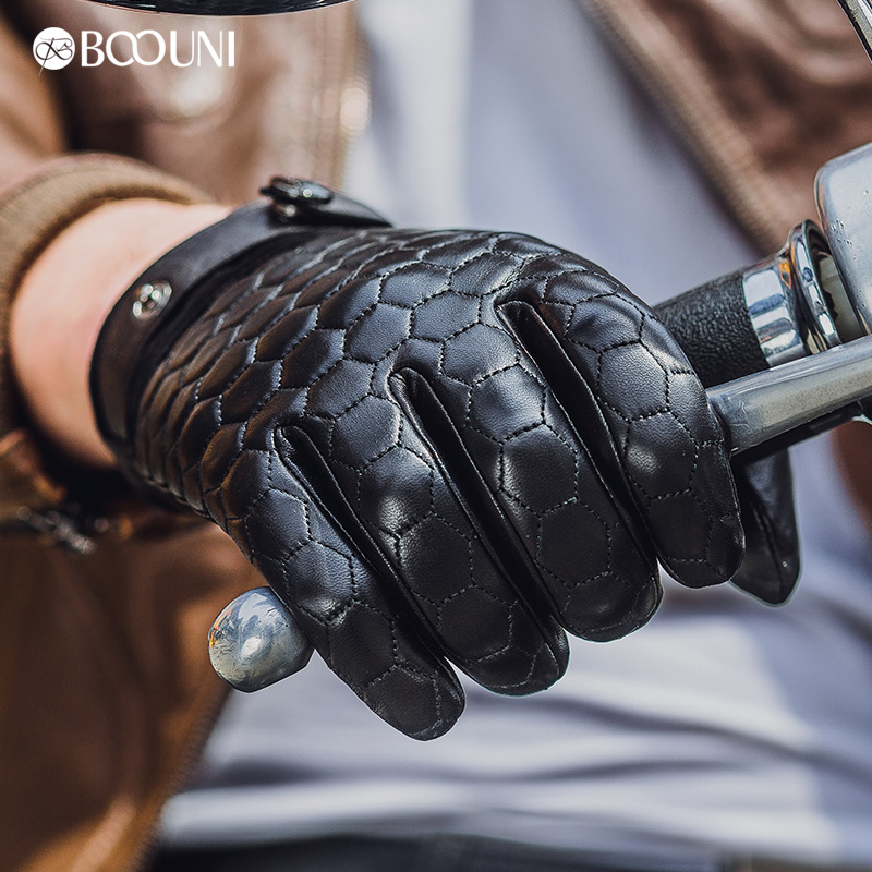 Image 3 - BOOUNI Genuine Leather Men Gloves Fashion Plaid Black Business Sheepskin Driving Glove Winter Thicken Warm Five Finger NM764-in Men's Gloves from Apparel Accessories