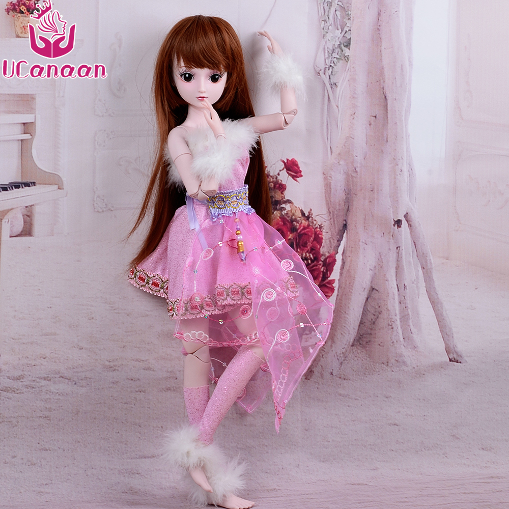 UCanaan BJD Doll Reborn Girls Toys Can Changed Eyes 19 Joint Body With Wig Shoes Makeup DIY SD Dolls Taoqian