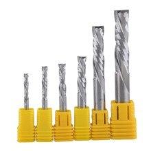 Cortador de duas flautas ferramenta de carboneto espiral para cnc roteador, 1 peça pontas de cortar madeira de compressão