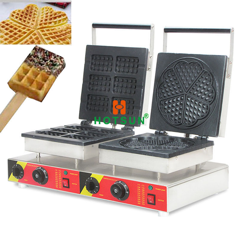 Free Shipping Dual Lolly Waffle Stick Heart-shaped Waffle Iron Maker Machine Commercial Electr