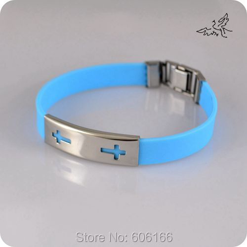48pc lot Double Cross Mix Colors Silicone Wristbands Stainless Steel Bracelet Catholic Christian Fashion Religious Jewelry