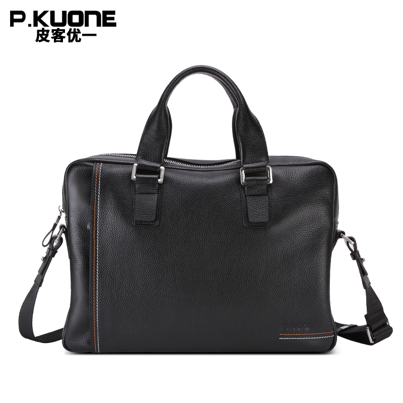 P.KUONE Cowhide Genuine Leather Mens new Fashion Briefcase Business Male Shoulder Messenger Bag Casual Handbag Cross Laptop BagP.KUONE Cowhide Genuine Leather Mens new Fashion Briefcase Business Male Shoulder Messenger Bag Casual Handbag Cross Laptop Bag