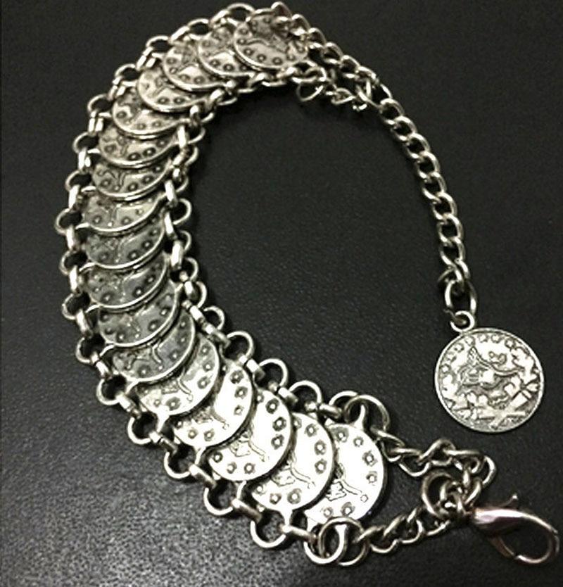 Bohemian Antalya Coin Bracelets Silver Gypsy Boho Festival Turkish Jewelry Tribal Ethnic Statement Jewelry Wholesale 10 Pcs/lot