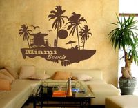 2017 new house Miami Beach Landscape - highest quality wall decal stickers Wedding decoration