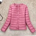 Ultra delgado ligero O cuello de manga larga de down jacket women plus tamaño corto delgado tanque liner abajo chaquetas 2017 nuevo otoño invierno