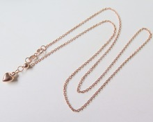 Pure 18K Rose Gold Necklace Special 1.3mm Cable Link Chain Necklace 17.7inch Length Hallmark: Au750