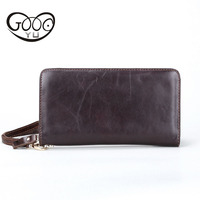 GOOG YU Leather Long Wallet Men And Women Zipper Hand Bag Head Layer Of Leather