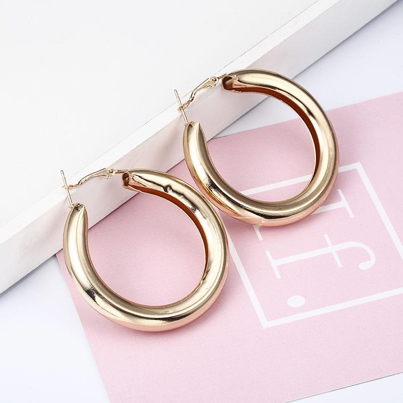 Простые модные геометрические большие круглые серьги золотого цвета с серебряным покрытием для женщин, модные большие полые висячие серьги, ювелирные изделия - Окраска металла: e0149jinse