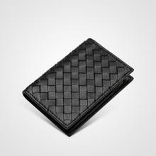 Pele de carneiro carteira de couro genuíno ultra-fino fold unisex bolsa de crédito id bolsa de banco de negócios artesanal simples de alta qualidade bolsa