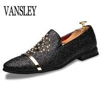 Men Gold Silver Black Rivet Dress Italian Shoes Slip On Men Leather Moccasin Glitter Formal Male Shoes Pointed Toe Shoes For Men