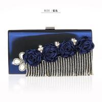 New Navy Blue Womens Bag Wedding Evening Bag Solid Day Clutches PU Handbag Bride Party Purse Makeup Bag Shoulder Bag 12011 A