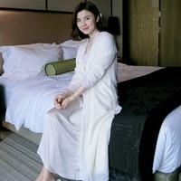 Winter Silk Thicken Coral Fleece Luxury Women 2 Pieces White Robes Sets Long Sleeve Bathrobe Elegant Long Nightgowns Autumn 2585