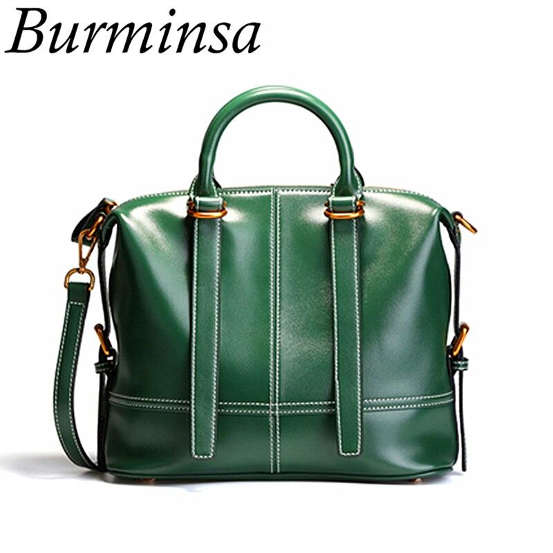 цены на Burminsa Genuine Leather Handbags Women Shoulder Bags Retro Oil Wax Calfskin Tote Female Pillow Messenger Bags Ladies Gift 2018 в интернет-магазинах