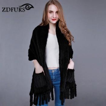 ZDFURS * Natural Knit Mink Fur Shawl with pocket and fringes Mink Fur Cape mink knitted tassel cape scarf