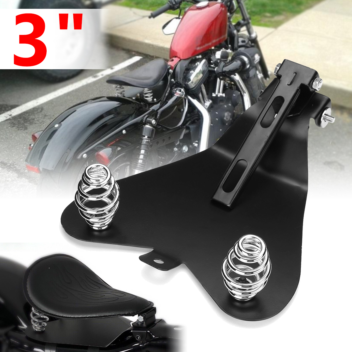 3 pouces universel moto siège plaque de Base support de ressort Solo siège Pad selle pour Harley/Honda/Yamaha/Kawasaki/Suzuki/Sportster