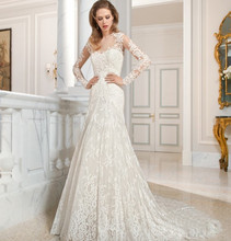 wedding dress custom made appliques lace tulle long sleeve bridal marry gowns for party
