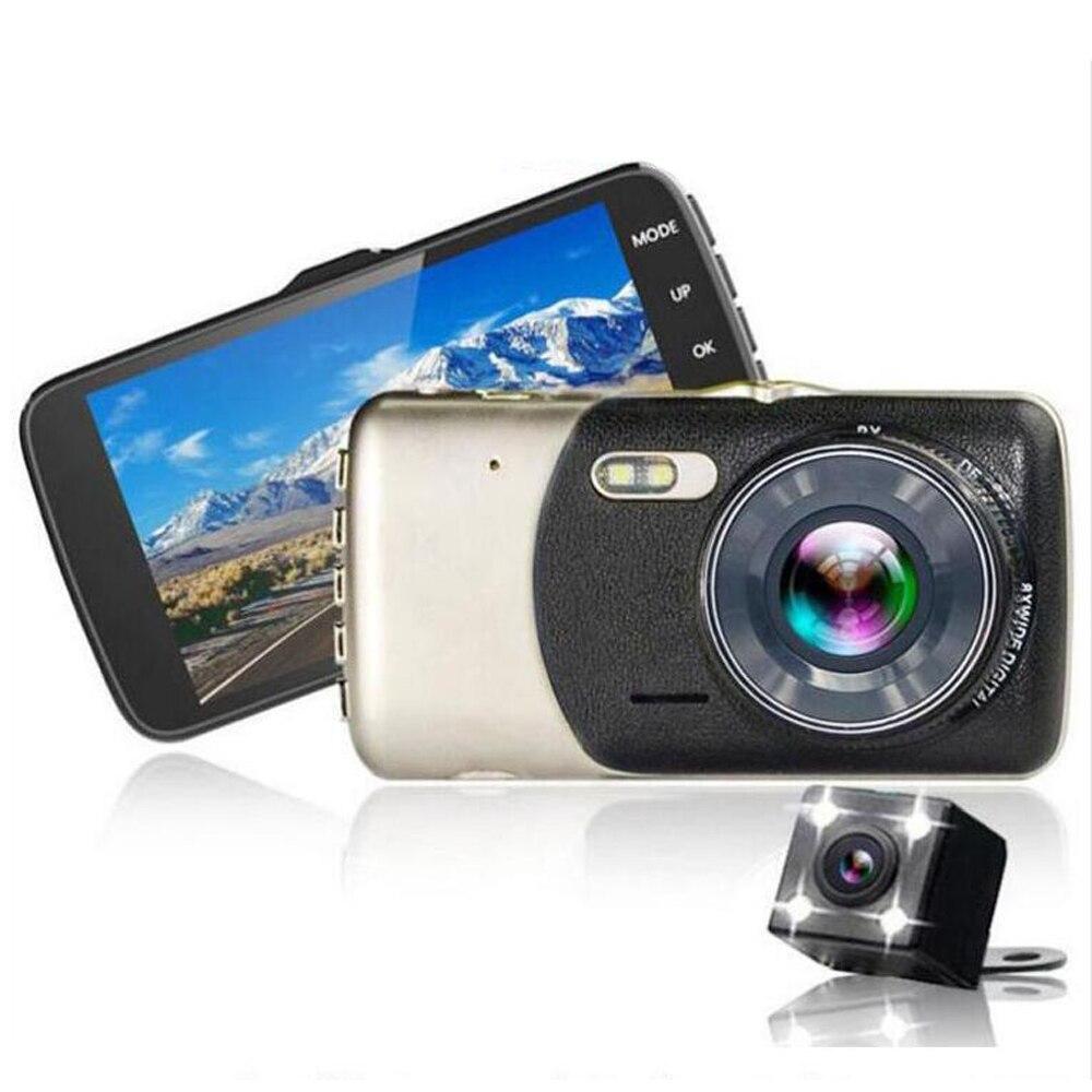 4 palcová dvojitá objektivová karta DVR Cam Dashcam 1080P Full HD videorekordér s Backup Rearview kamerou G-Sensor