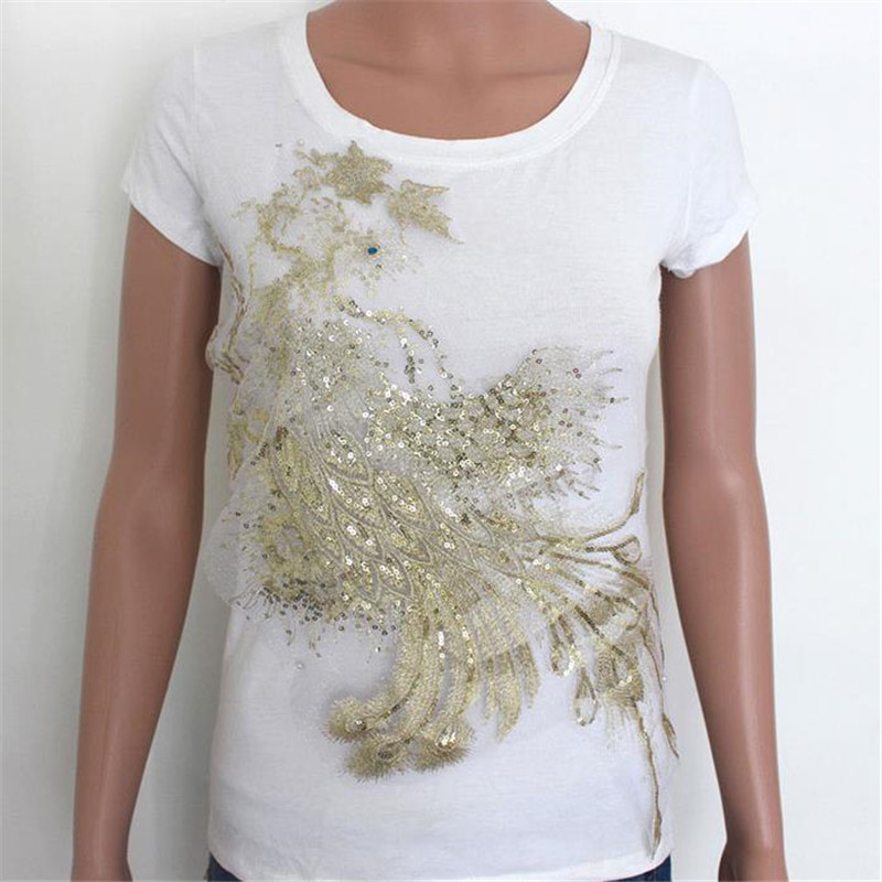 Fashion T shirt Women sequins patches for clothing 35cm phenix flower patch deal with it 3d t shirt mens Christmas gift stickers