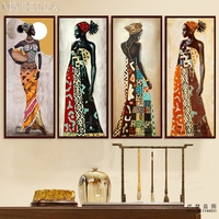 MYCELLA Full Diamond Embroidery African Girl Needlework Cross Stitch 5d Diy Diamond Painting Diamond Mosaic Wall