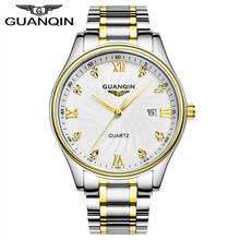 GUANQIN GQ80007 Original Brand Authentic business watches men's quartz watch ultra thin golden stainless steel relogio masculino