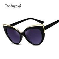 Coodaysuft Cat Eye Women Vintage New Sunglasses Brand Design Female UV400 Retro Cateye Sun Glasses Hollow