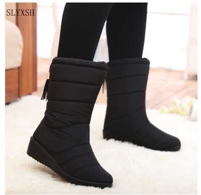 New Winter Women Boots Mid-Calf Down Boots Girls Winter Shoes Woman Plush Insole Female Waterproof Ladies Snow Boots
