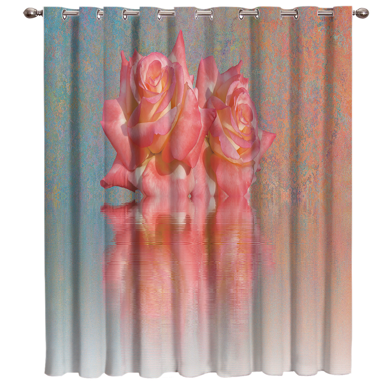 Vintage Pink Rose Oil Painting Window Curtains Dark Living Room Bathroom Blackout Bedroom Kitchen Outdoor Decor Curtain Panels