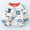 Varejo 2016 Crianças Camisas de T, longas Meninos Da Luva T-shirt, Primavera Outono Crianças meninos Crianças Tees Crianças Tops dinossauro carro