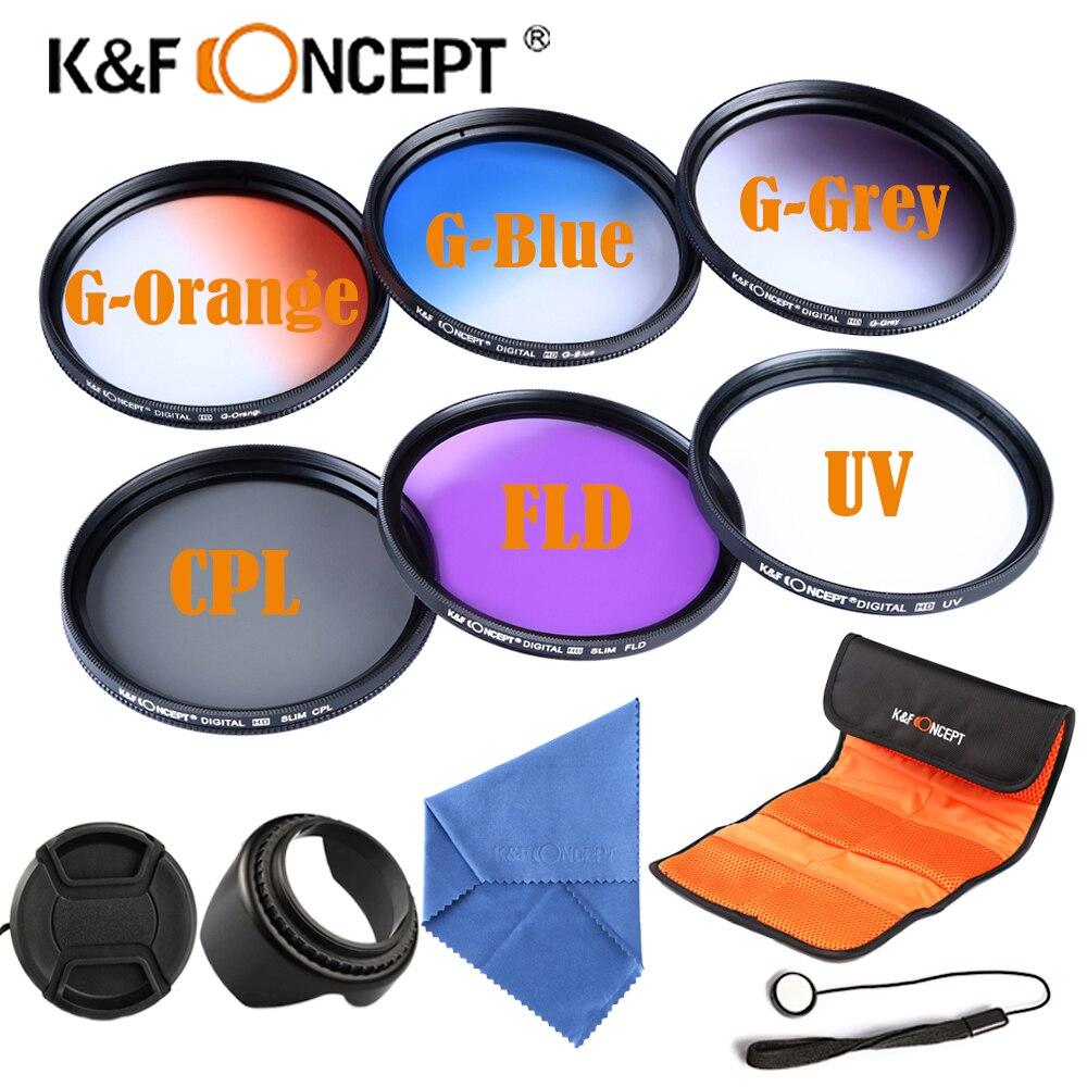Filtre gradué 58mm 3 PC (Orange bleu gris) + CPL + FLD + ensemble de filtres UV pour objectifs de caméra Canon Nikon Sony D90 6D 400D D3000 450D 5D