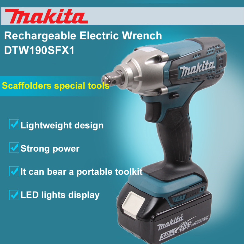 Japan Makita DTW190SFX1 Rechargeable Electric Wrench Charged double/Single Lithium Battery Impact Wrench Bolt Sleeves