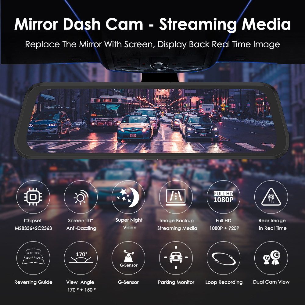 """Image 2 - AZDOME PG02 10"""" Streaming Media Mirror Dash Cam Full Screen Touching Dual Lens Night Vision 1080P Front 720P Backup Car DVR ADAS-in DVR/Dash Camera from Automobiles & Motorcycles"""