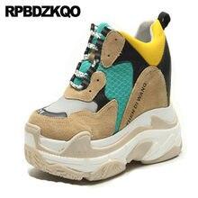 086c4886 обувь кроссовки меш желтый Harajuku скрытый Белые сапоги на платформе  Flatform экстремальный каблуке женщины Леопардовый рисунок