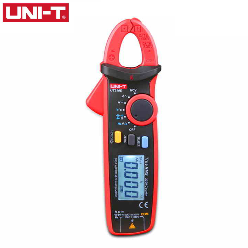 UNI-T UT210D Clamp Meter Multimeter AC 2V/20V/200V 20A/200A Auto Range True RMS NCV Low Battery Indicate Current Voltage Tester prof clamp meter ac a 20a 200a 600a tes3010