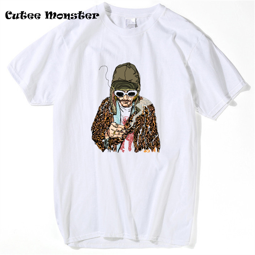 Kurt Cobain T shirt 2017 Summer NIRVANA T-shirt Men lead singer of that one band with the instruments hip hop Top Tees