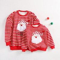 Familie Bijpassende Kleding Kerst Kostuums T-shirt Kerstman Karakter Print Streep Tops Herfst/winter Dikkere Flanellen Tees