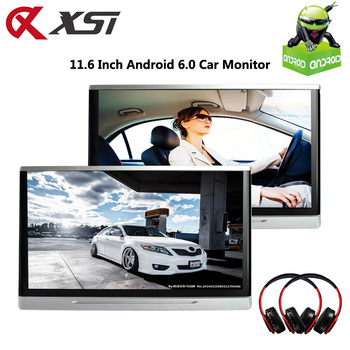 XST 2PCS 11.6 Inch Android 6.0 Car Headrest Monitor Touch Screen 1080P Video WIFI/USB/SD/Bluetooth/FM Transmitter/Speaker/Game