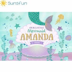 Image 2 - Sunsfun Fondo de estudio de fotografía personalizado de vinilo de 7x5 pies, Fondo de fotografía bajo el mar, Little Mermaid Shell, recién nacido