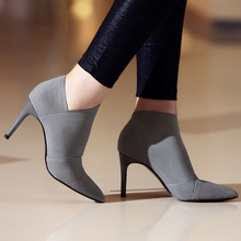 New Women Shoes Slip-On Retro High Heel Ankle Boot Elegant Cusp England Casual Short Boots Female Pointed Toe Stiletto Shoes