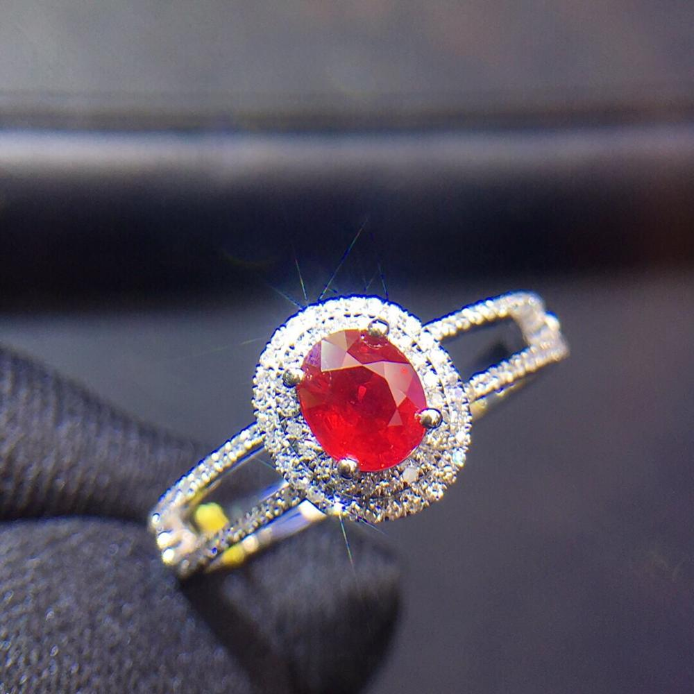 Ruby Ring Pure 18 K Gold Jewelry Real Natural 0.6ct Red Ruby Diamond Jewelry Anniversary Females Rings for Womens Fine RingsRuby Ring Pure 18 K Gold Jewelry Real Natural 0.6ct Red Ruby Diamond Jewelry Anniversary Females Rings for Womens Fine Rings