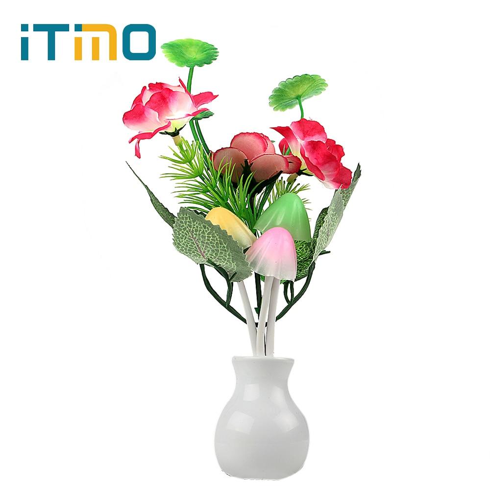 US Plug Light Sensor Home Bedroom Decoration Romantic LED Night Light Lamp Changable Mushroom Flower Plant