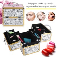 Aluminum Cosmetic Case Professional Makeup Nail Bag Beautify Small Beauty Case Portable Multi Tiers Lockable Jewelry Box