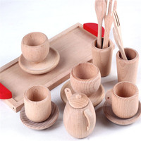 Wooden Cutlery Pretend Play Tea Set Wooden Educational Activity Montessori Toddler Game Educational Baby Inspired Kitchen Toys
