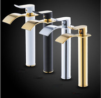 Fashion gold brass bathroom Waterfall Faucet Vanity Vessel Sinks Mixer Tap Cold And Hot Water Tap chrome single lever free ship