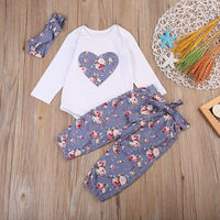 3PCS Newborn Baby Girl Kids Tops Romper +Long Pants Headband Outfits Clothes Set Infant Cotton Casual Coat Sets
