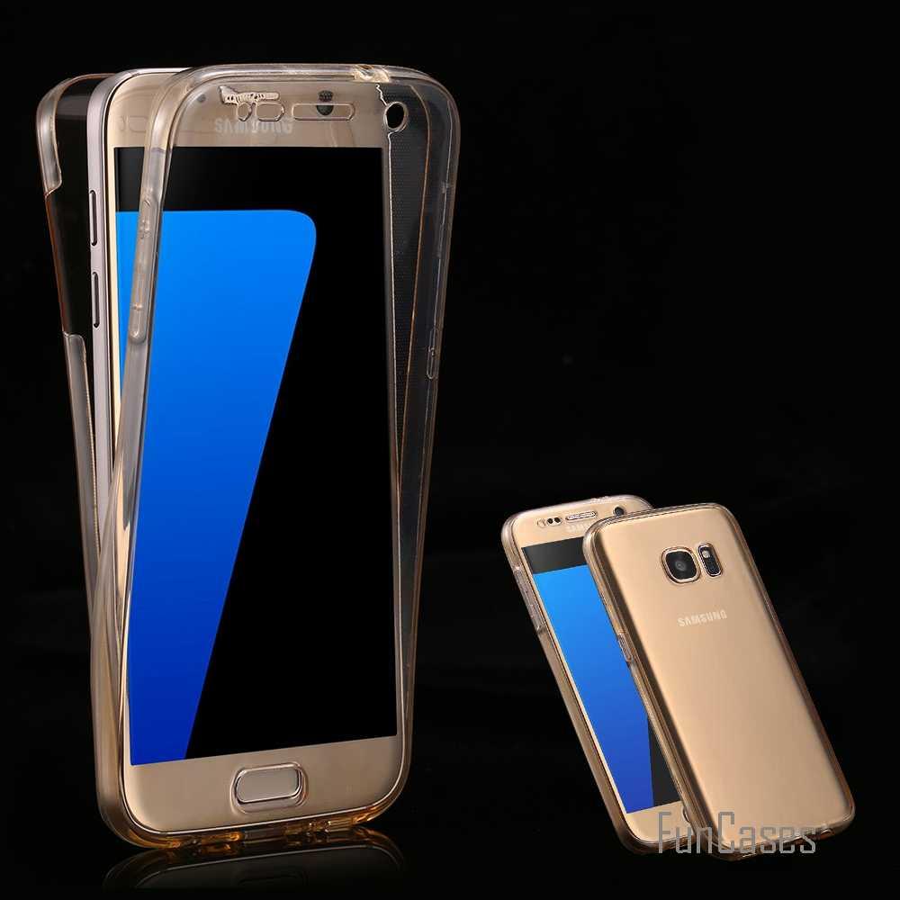 Rõ ràng Đầy Đủ Bảo Hiểm Trường Hợp S7 S7 Cạnh Minh Bạch 360 Độ Bảo Vệ Điện Thoại Bìa đối với Samsung Galaxy S7 S7 Cạnh TPU phụ kiện
