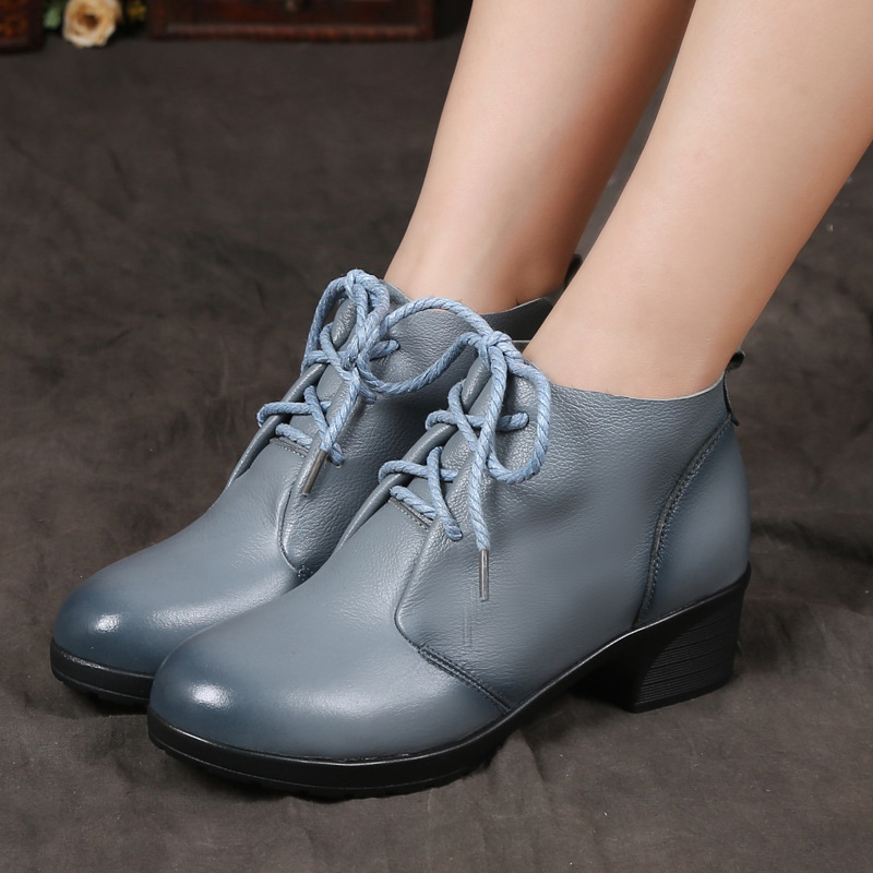 ФОТО 2017 Spring And Autumn Fashion Genuine Leather Shoes Women's Boots Femme Casual Women Thick Heels Handmade Woman Ankle Boots