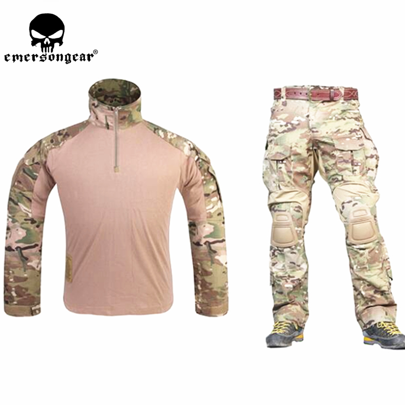 G3 Combat Uniform Airsoft Shirt Pants with Knee Pads Military Tactical Multicam EMERSON Hunting Camo Clothes