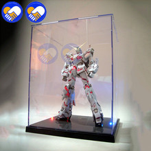 NEW 21.5X21X26cm Clear Acrylic Display Box With Colorful Light Dustproof Model Showcase For Saint Seiya PVC Action Figures недорого