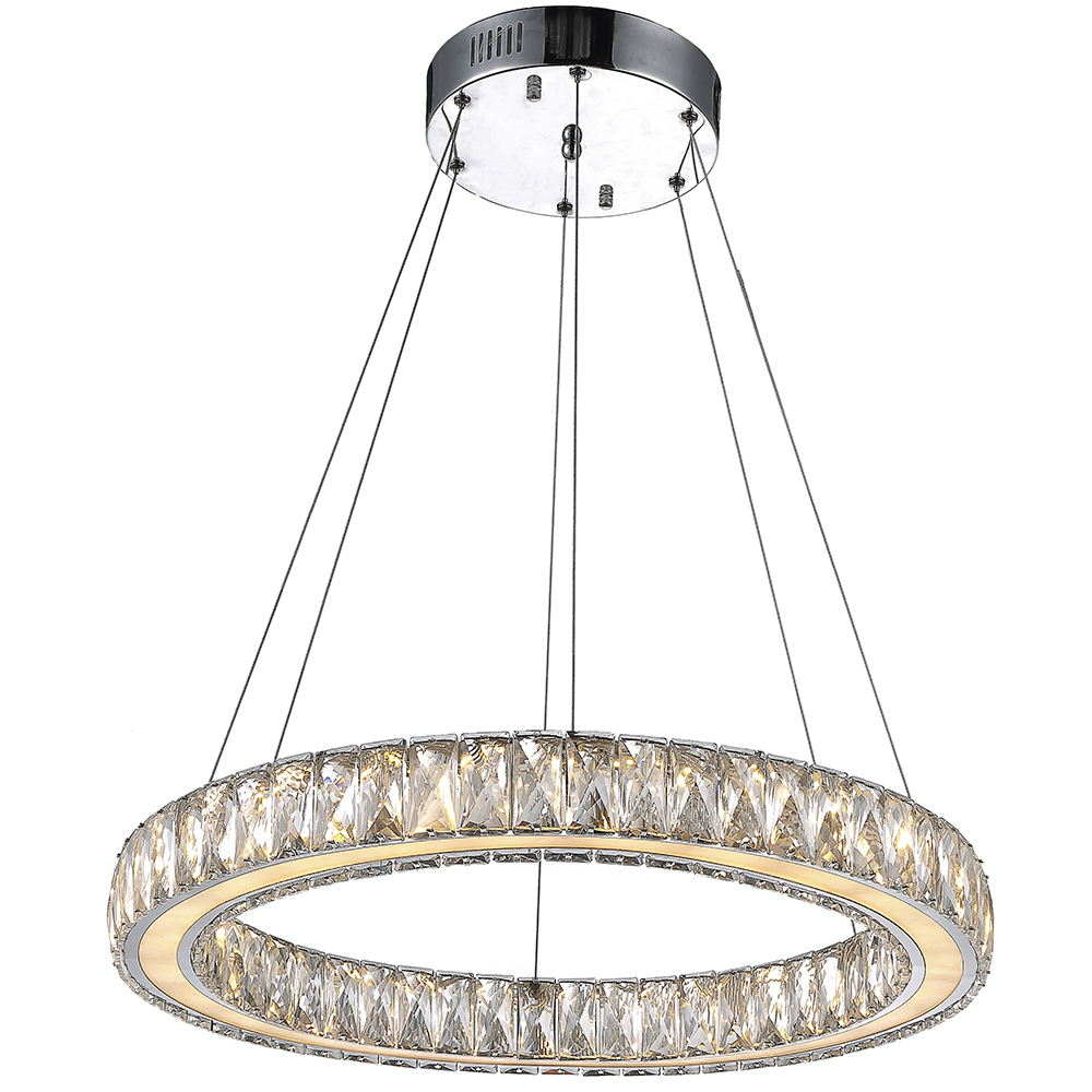 VALLKIN Crystal Pendant Light Fixtures for Kitchen Living Room Dining Room with Single Ring D60CM 27W CE FCC ROHS  vallkin round led crystal pendant light hanging lamp fixtures for bar cafe ac110 240v k9 crystal lamp ce fcc rohs d40cm d60cm