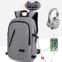 Anti Theft Password Locks Casual Men Backpack Man USB Charging Laptop Backpacks Whit Headphone Plug Travel Bags